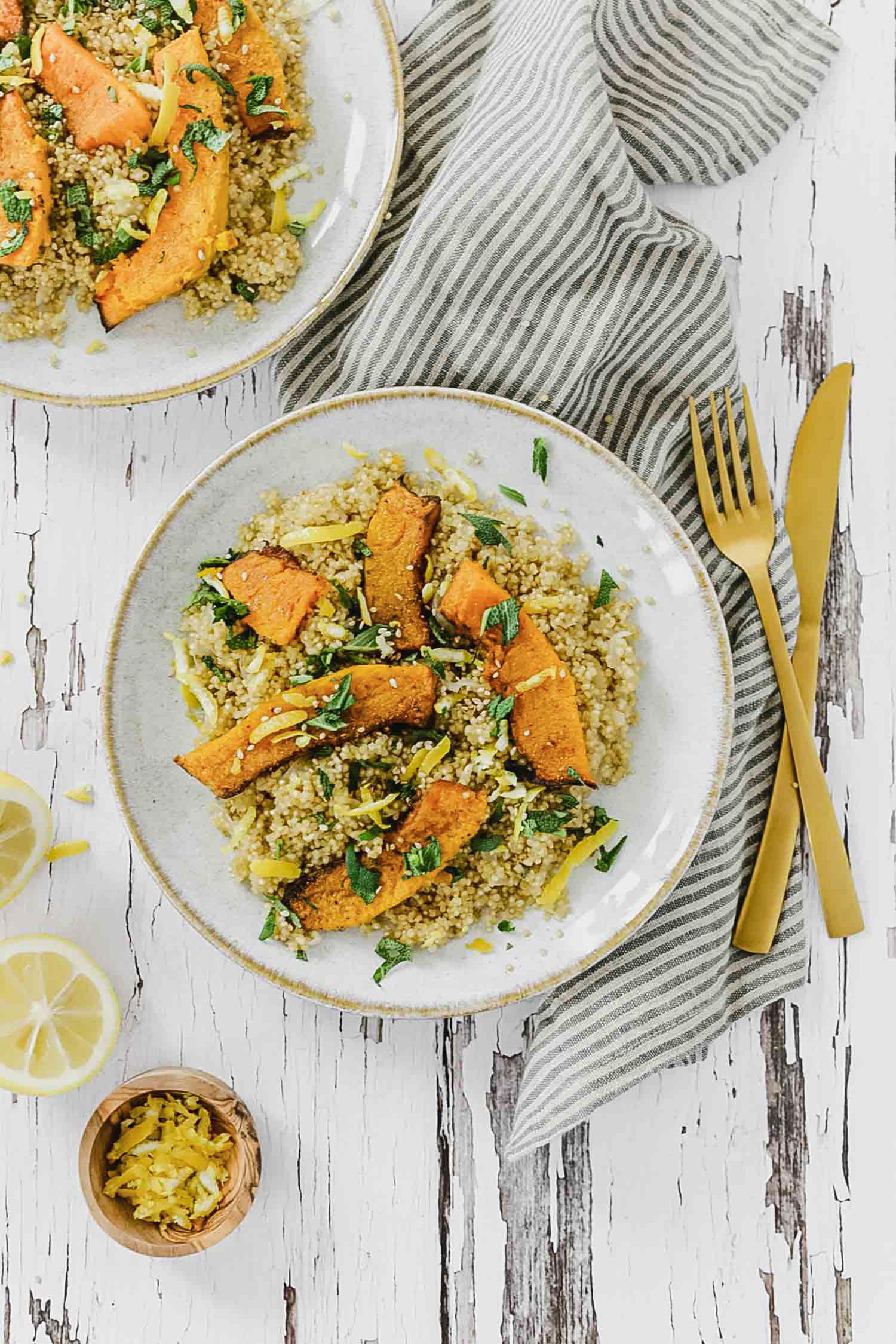 Recette vegan quinoa courge bleue, citron et sauge fraîche