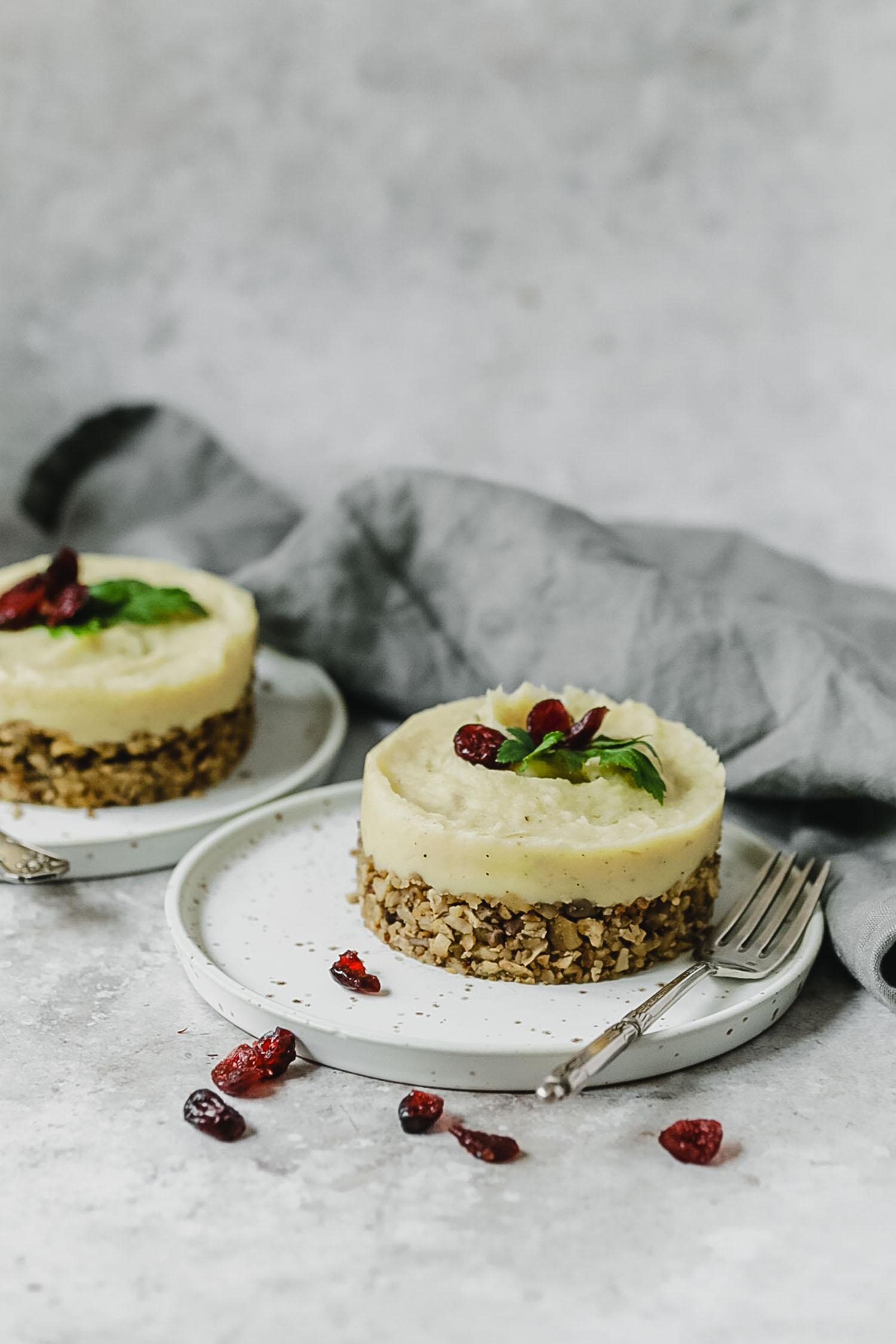 Recette vegan parmentier de panais, châtaignes, champignons et tofu fumé. Noël végétarien