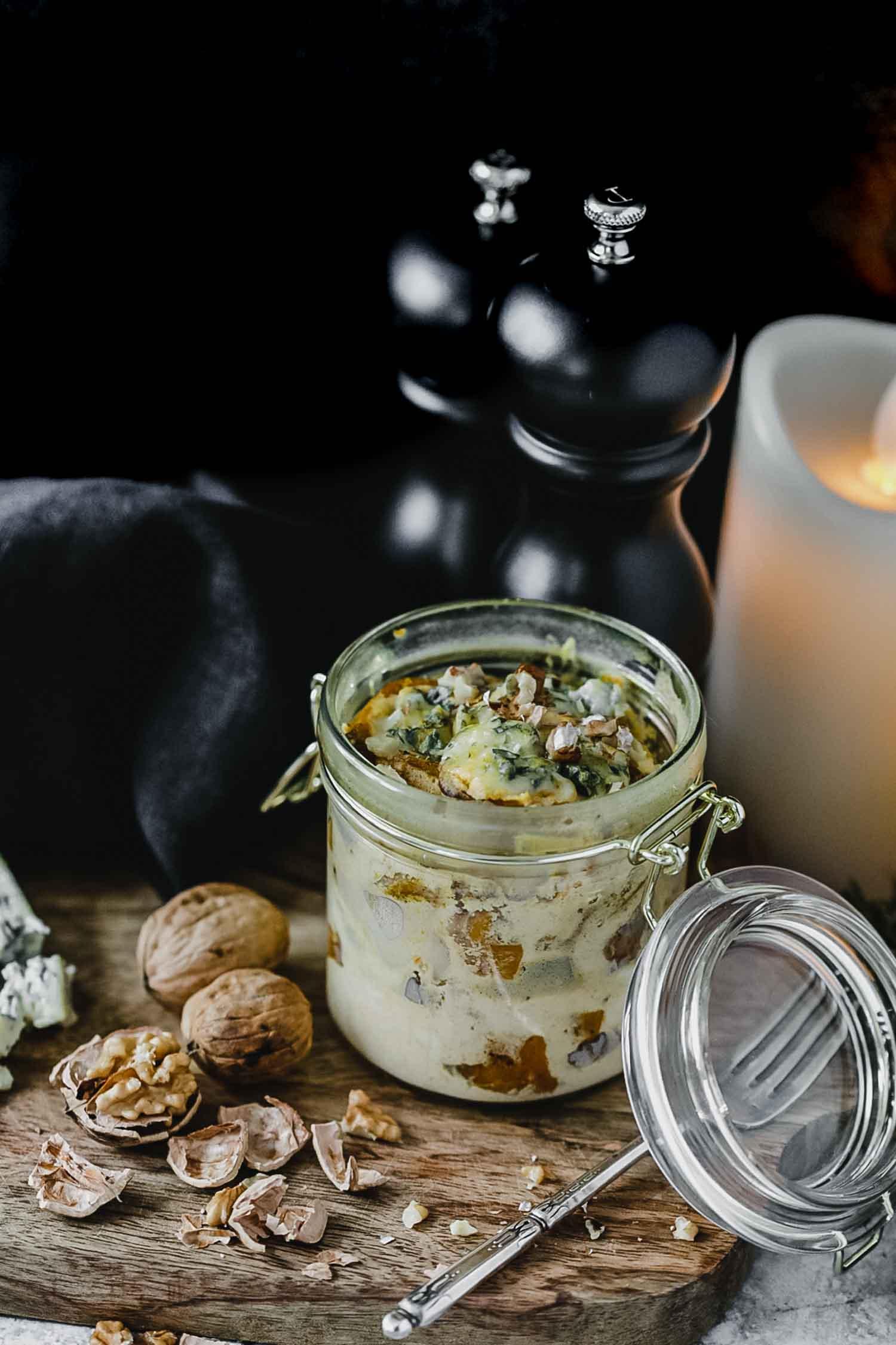 Recette végétarienne gratin de butternut, fourme d'Ambert et noix