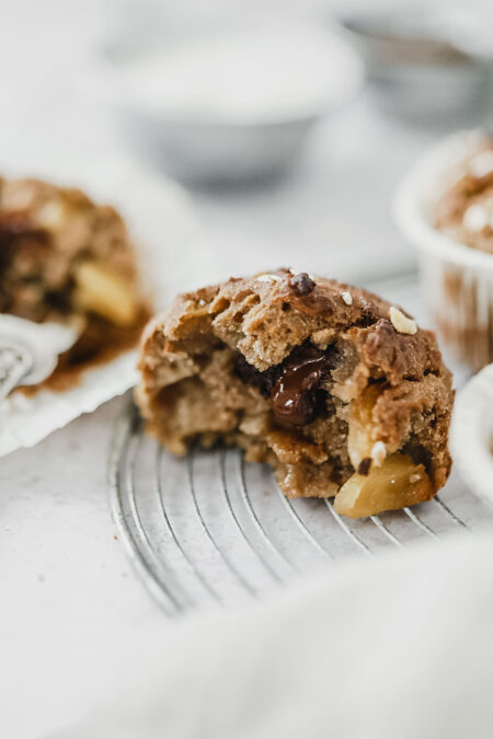 Recette vegan muffins châtaigne, pommes caramélisées et coeur coulant chocolat noir