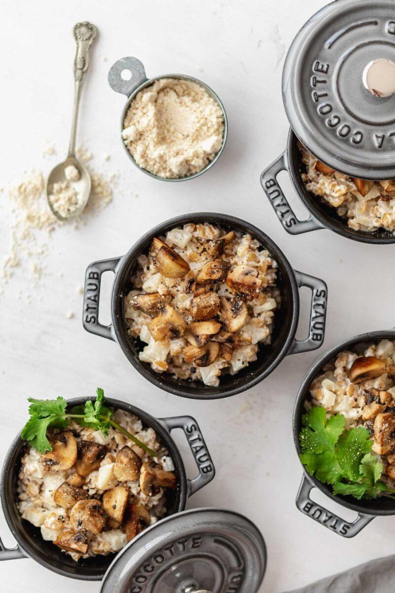 Recette vegan risotto petit épeautre et céleri aux champignons cocotte Staub